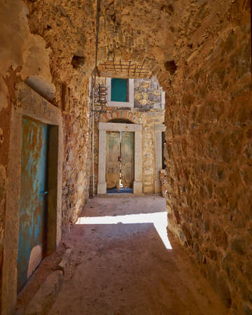 picturesque alley, Chios island, Greece Stock Photo