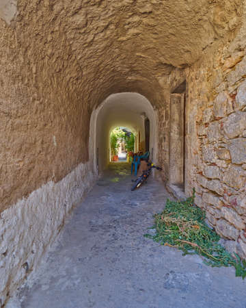passageways: picturesque alley, Chios island, Greece Stock Photo