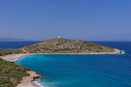 静かなビーチと半島、キオス島、ギリシャ