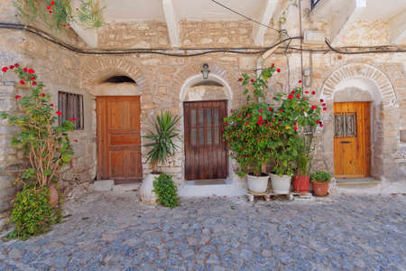 doors and flowerpots, mediterranean island, Greece photo
