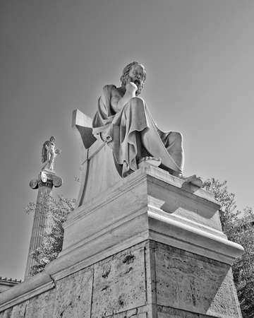 Socrates the philosopher and Apollo the god of poetry and music, Athens Greece Stock Photo - 25063822