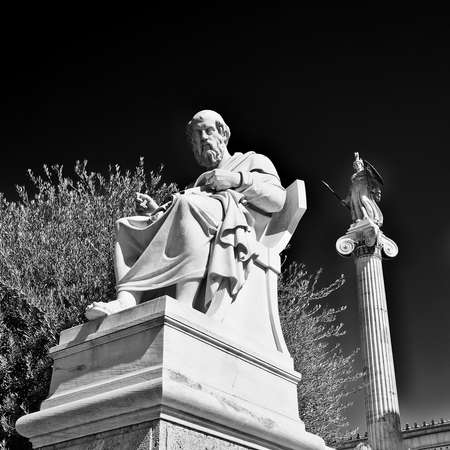 plato: Plato the ancient Greek philosopher and Athena the goddess of wisdom and science