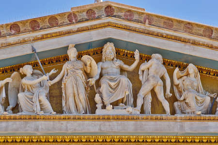 gods: Zeus, Athena and other ancient Greek gods and deities, national university of Athens Greece neo-classical building detail  Editorial