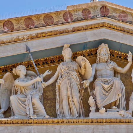 greek mythology: Zeus, Athena and other ancient Greek gods and deities, national university of Athens Greece neo-classical building detail  Editorial