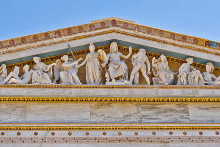 ancient greek: Zeus, Athena and other ancient Greek gods and deities, national university of Athens Greece neo-classical building detail  Editorial