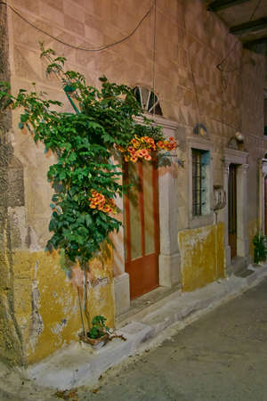 house doors and flower, scenic night view, Chios island, Greece photo
