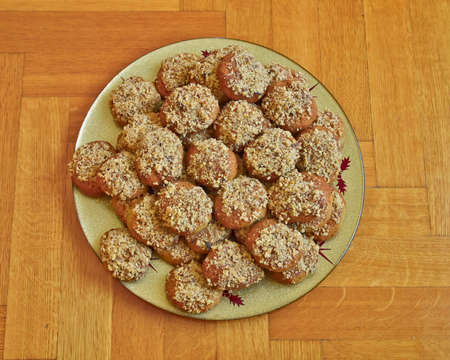 melomacarona, gourmet Greek Christmas cookies with walnuts and honey syrup photo