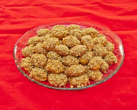 melomacarona, gourmet Greek Christmas cookies with walnuts and honey syrup