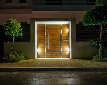 Contemporary house entrance night view, Athens  Greece