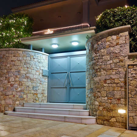 front entry: Contemporary house entrance night view, Athens  Greece