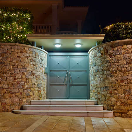 Contemporary house entrance night view, Athens  Greece
