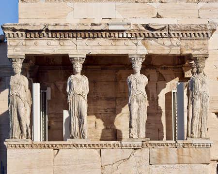 caryatids: Caryatids ancient statues, erechteion temple, Athens Greece