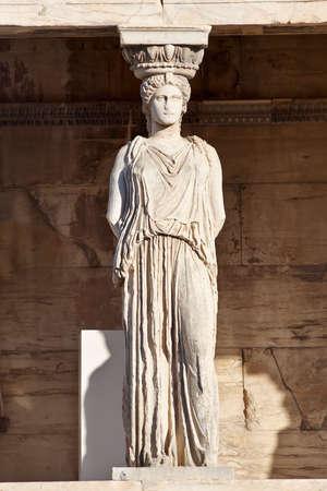 caryatids: Caryatid ancient statue, erechteion temple, Athens Greece