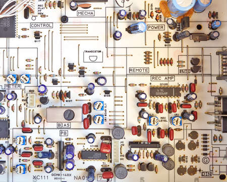 fidelity: electronic circuitry in a hi fidelity cassete recorder Stock Photo