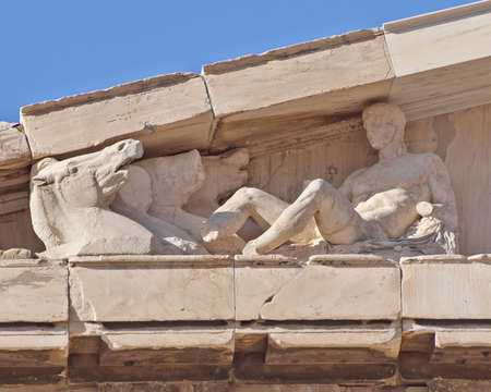 pediment: Parthenon west pediment detail, horse heads and Dionysus (probably) layed, Athens Greece