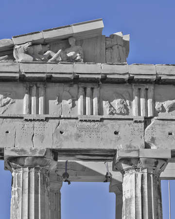 pediment: Parthenon west pediment detail, horse heads and Dionysus  probably  layed, Athens Greece