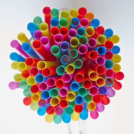 colorful drinking straws, strong bokeh photo