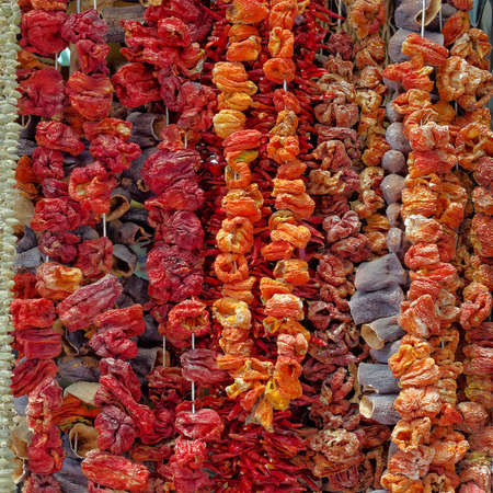 Athens, Greece, dried vegetables at the central market Stock Photo