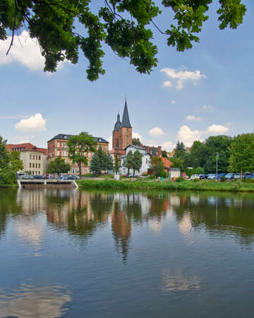 castles needle: Rote Spitzen towers, view from the lake, Altenburg, Germany Editorial