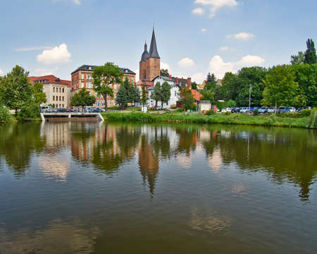 rote: Rote Spitzen towers, view from the lake, Altenburg, Germany Editorial