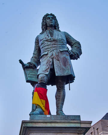 market place: Handels statue in the central market place of Halle an der Saale, Germany Editorial