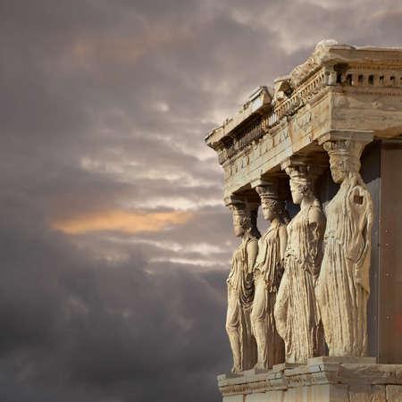 caryatids: Caryatids, erechtheum temple on Acropolis of Athens, Greece Stock Photo