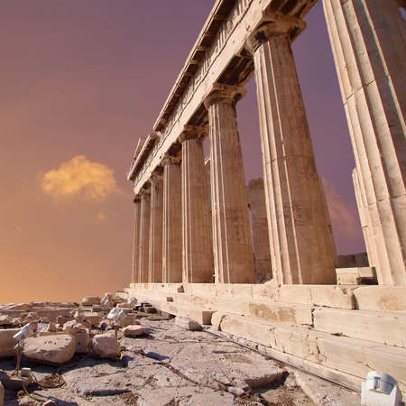 パルテノン神殿古代寺院ギリシャのアテネのアクロポリス 写真素材