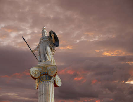 Athena statue, the goddess of wisdom and philosophy under a fiery sky
