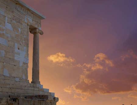 nike: fiery sunset on Acropolis Greece, Athena Nike ancient temple