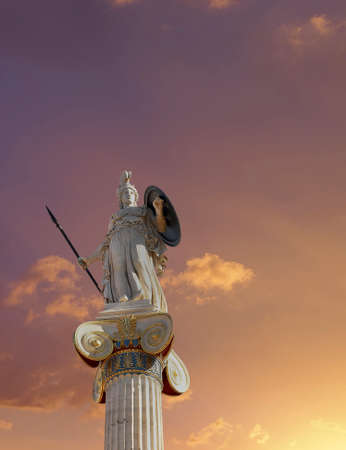 neoclassic: Athena statue, the goddess of wisdom and philosophy under fiery sky
