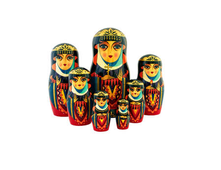 babushka: Babushka traditional Russian dolls on white Stock Photo