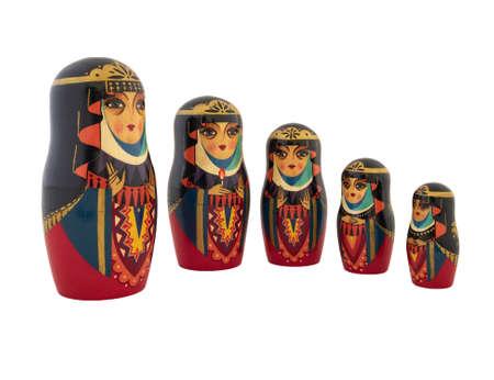 Babushka traditional Russian dolls on white Stock Photo