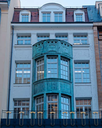 renovate old building facade: Renovated old office building facade, Leipzig, Germany