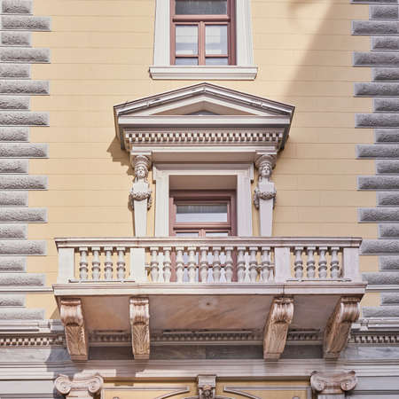 neoclassical: Athens, Greece, neoclassical building balcony Stock Photo