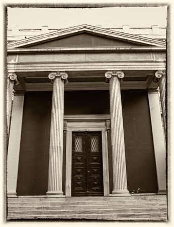 Athens, Greece, neoclassical vintage entrance, filtered photo