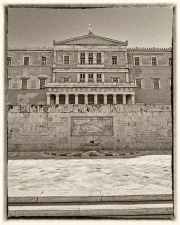syntagma: Athens Greece the parliament on Syntagma square instagram filtered Stock Photo