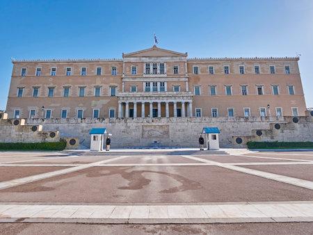 syntagma: Atene Grecia il parlamento il palazzo Syntagma piazza ex re Editoriali