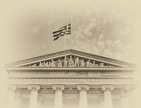 greek mythology: ancient Greek mythology gods and deities statues on the national university of Athens pediment Editorial
