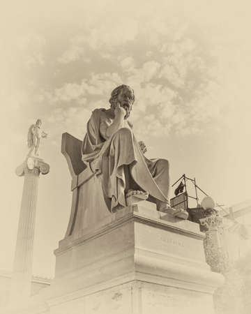 plato: Socrates the Greek philosopher and Apollo statues, instagram filtered Stock Photo