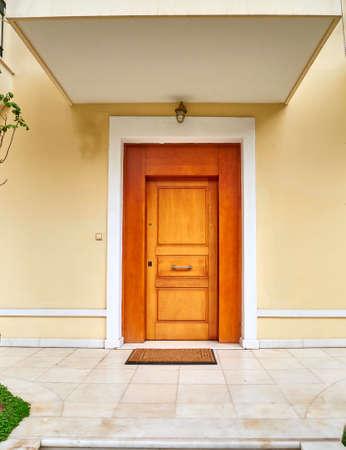 contemporary house wooden door, Athens Greece Stock Photo