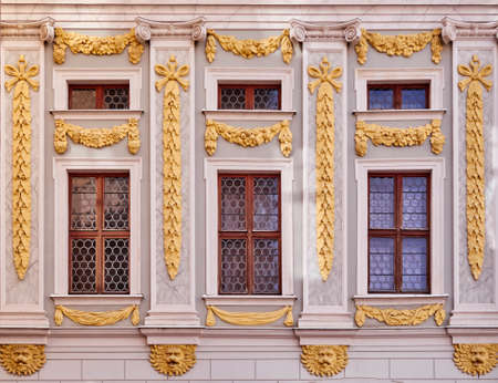 leipzig: Baroque windows with golden ornaments, Leipzig Germany Stock Photo