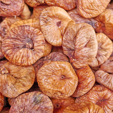 close up food: organic dried figs close up, vegetarian food background Stock Photo