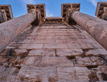 hadrian: Athens Greece, roman emperors Hadrian library columns extreme perspective view