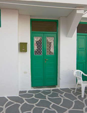 green door: Greek island, vintage house green door
