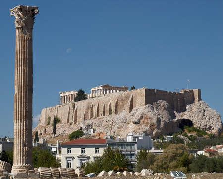 olympian: Athens Greece, Acropolis and a column of olympian zeus ancient temple