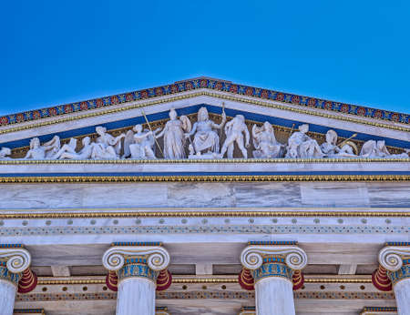 pediment: Ancient Greek gods and deities, neoclassical pediment of national academy of Athens Stock Photo