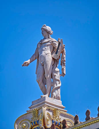 fine arts: Athens Greece, Apollo the ancient god of fine arts statue Stock Photo