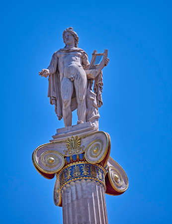 neoclassic: Athens Greece, Apollo the ancient god of fine arts statue Stock Photo