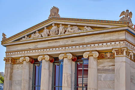 pediment: Athens Greece, ancient Greek gods and deities on national academy pediment