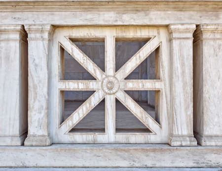 archetype: cross and x shaped marble building detail